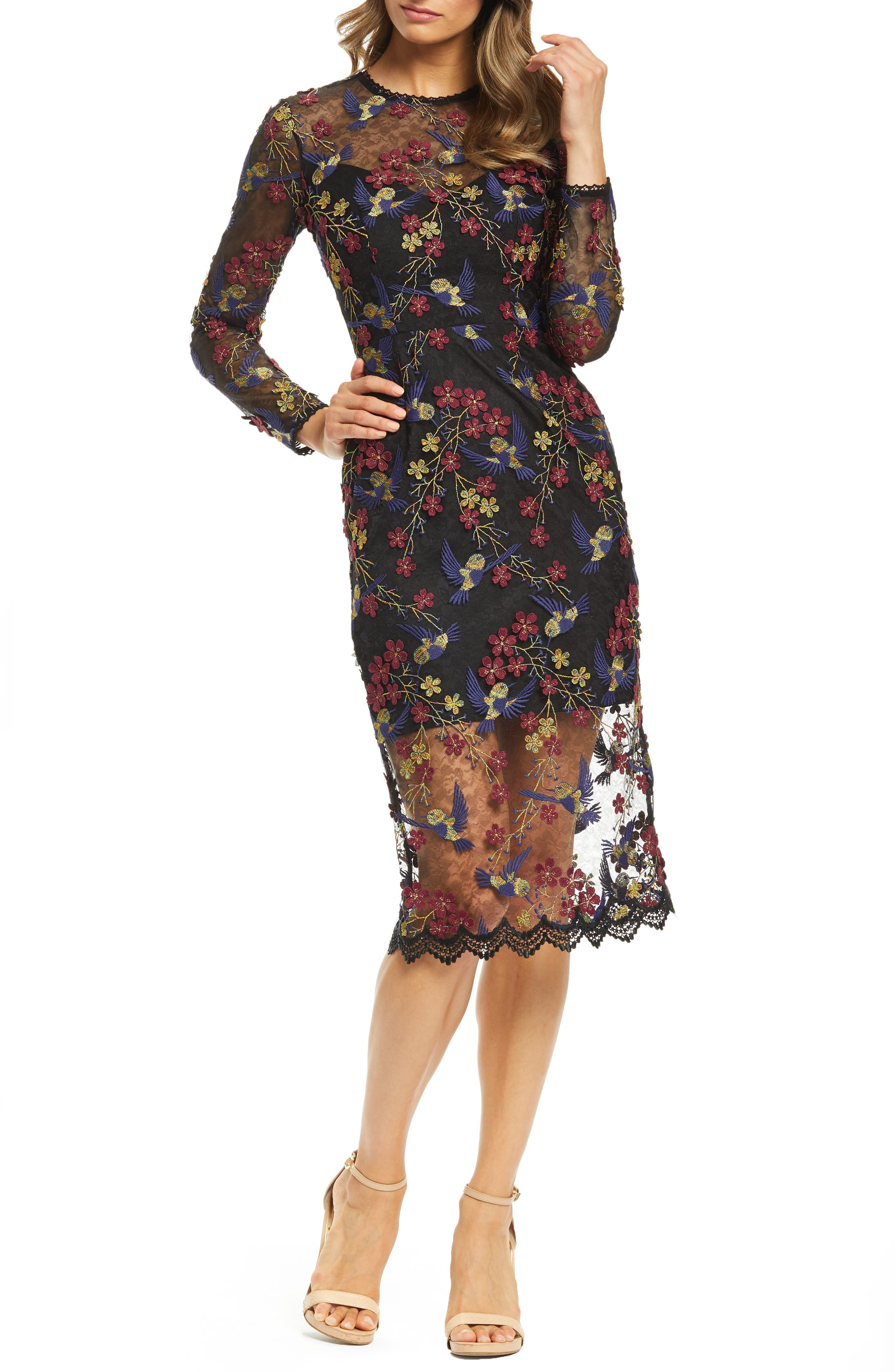 Dress The Population Sophia Embroidered Sheer Midi Dress, Black
