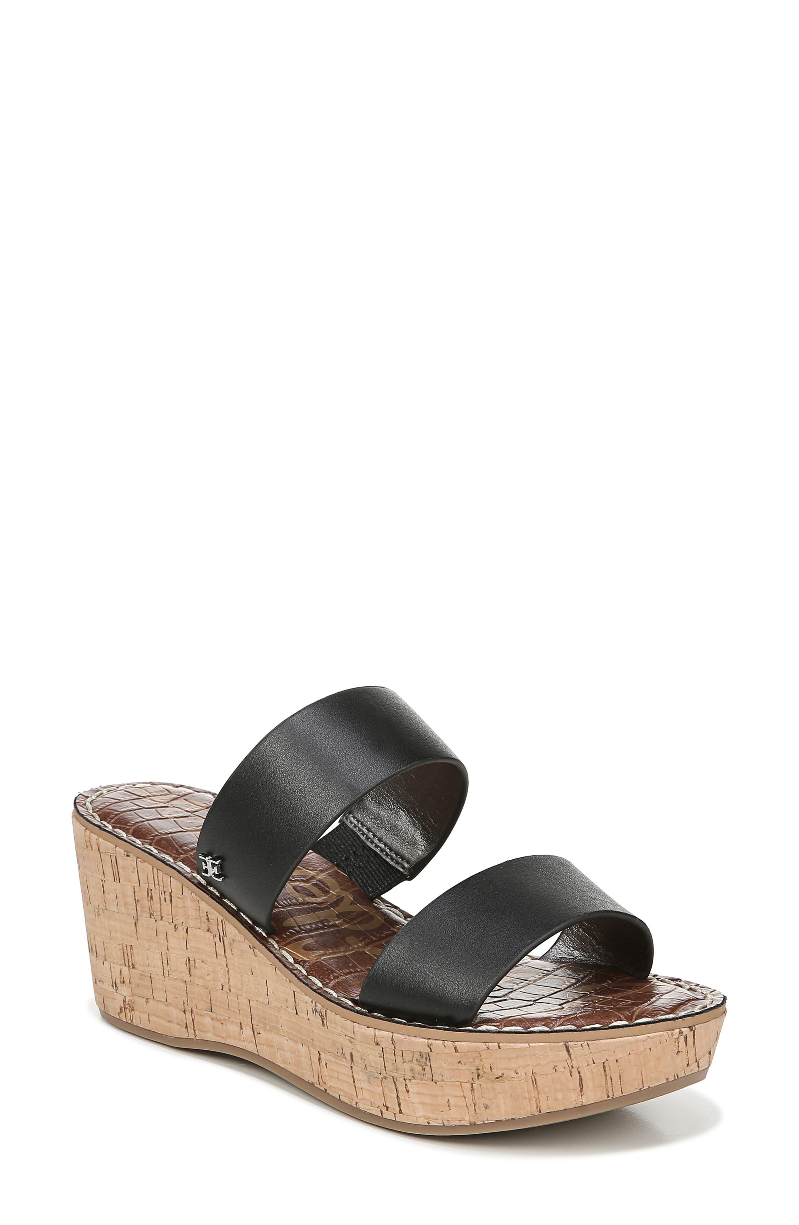 ,                             Rydell Platform Slide Sandal,                             Main thumbnail 1, color,                             BLACK LEATHER