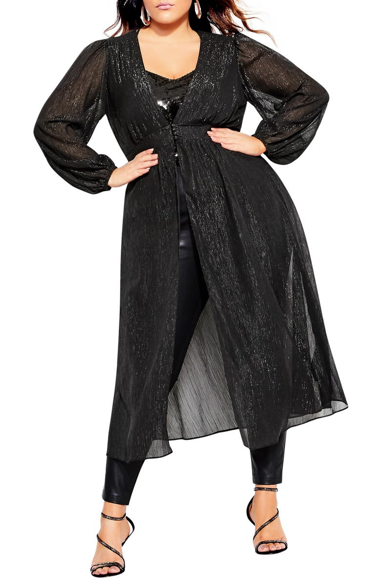 CITY CHIC Glitter Duster Jacket, Main, color, BLACK
