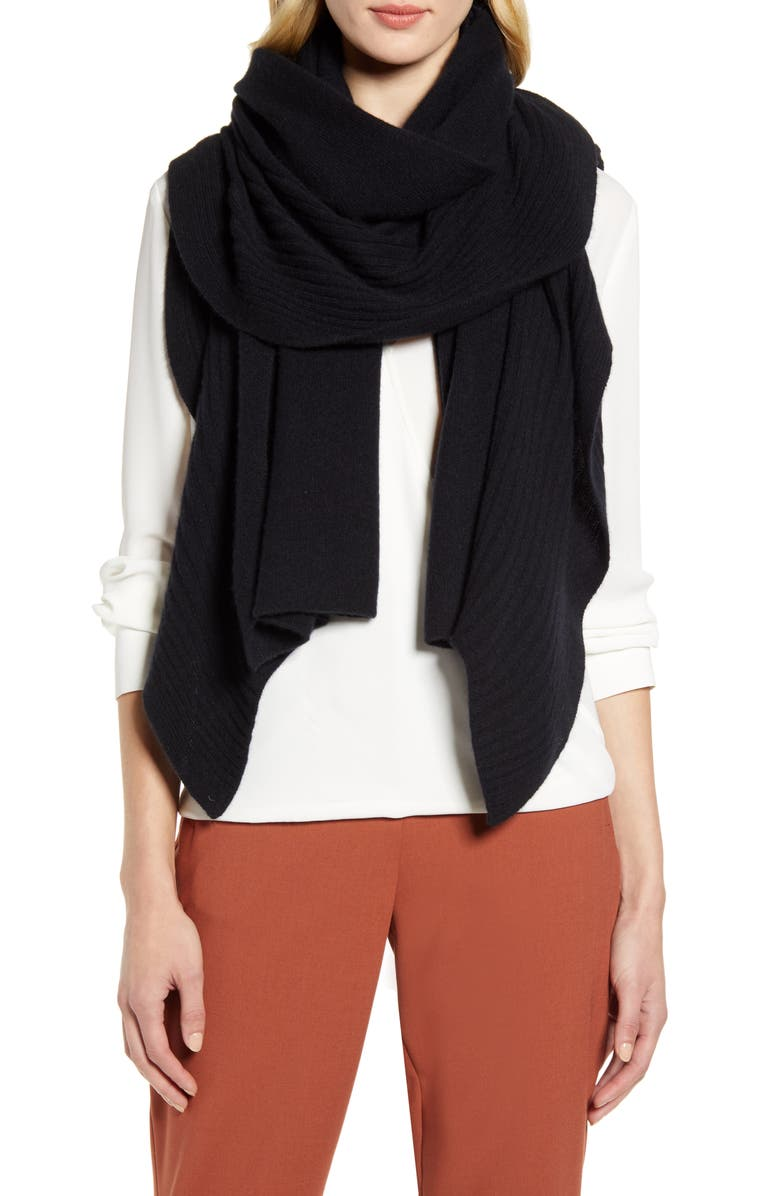 NORDSTROM Rib Ruffle Cashmere Scarf, Main, color, BLACK