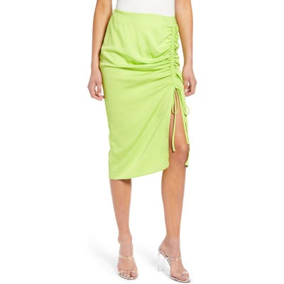 J.o.a. Ruched Pencil Skirt, Green