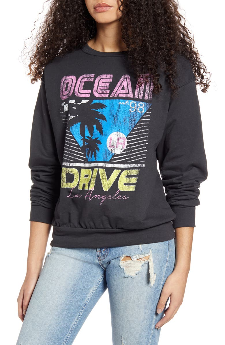 PRINCE PETER Ocean Drive Sweatshirt, Main, color, BLACK