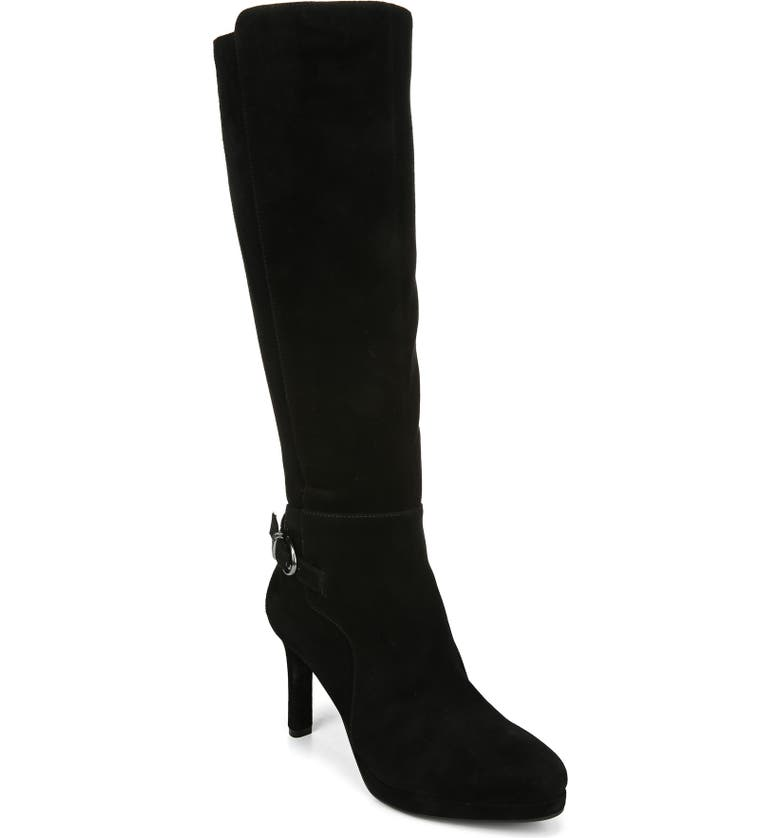 NATURALIZER Tai Knee High Boot, Main, color, BLACK SUEDE