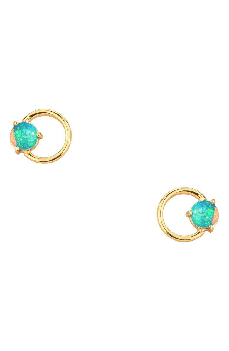 WWAKE Large Opal Circle Stud Earrings, Main, color, 710