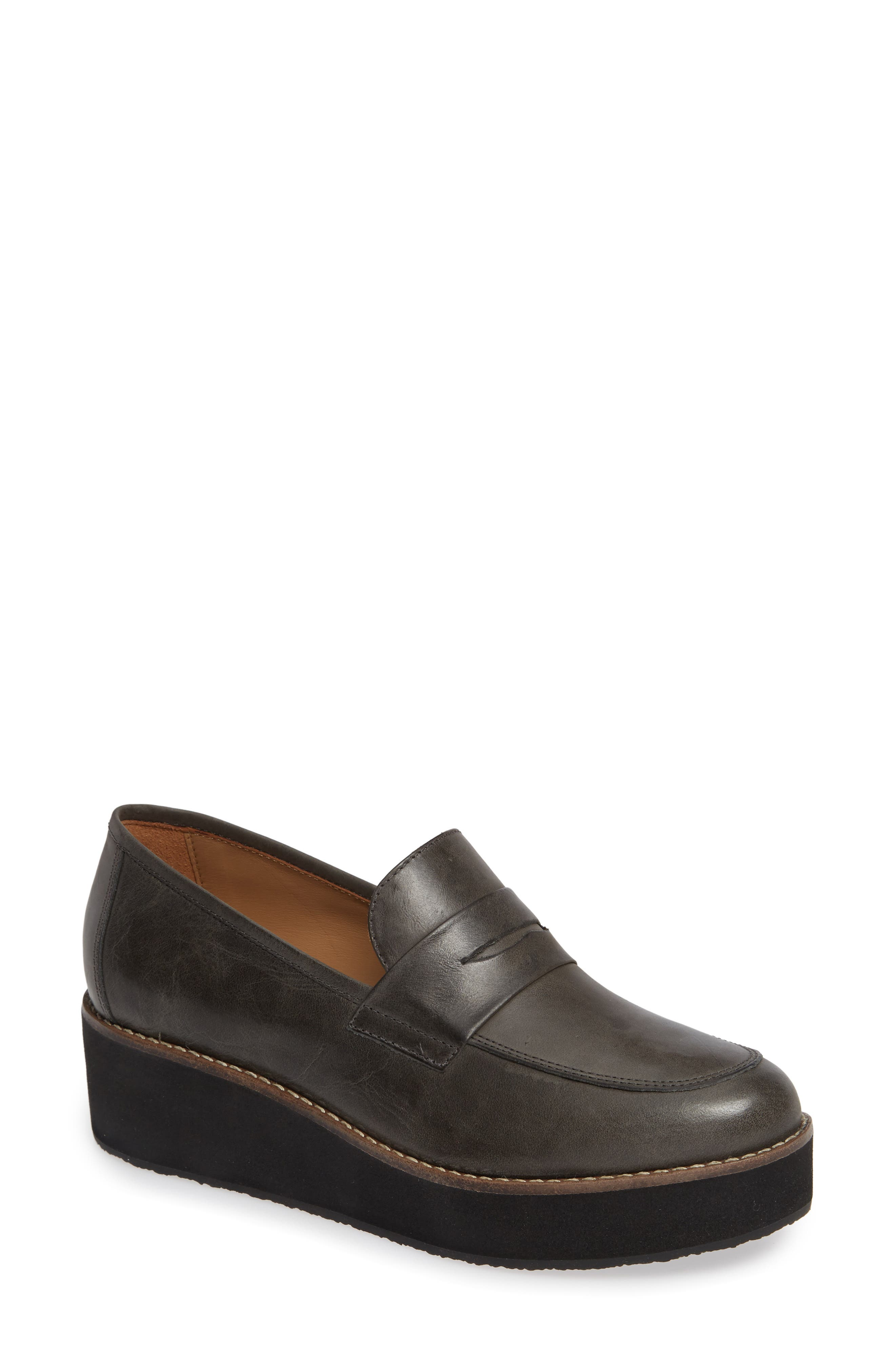 ,                             Santiago Platform Penny Loafer,                             Main thumbnail 1, color,                             BLACK LEATHER