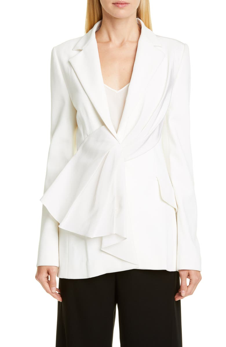 CAROLINA HERRERA Asymmetrical Drape Jacket, Main, color, IVORY