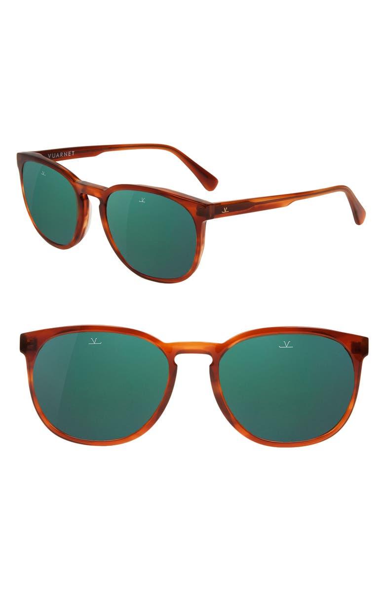 VUARNET District 54mm Sunglasses, Main, color, HONEY STRIPES