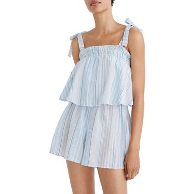 Madewell Tie-Strap Overlay Cover-Up Romper, Blue