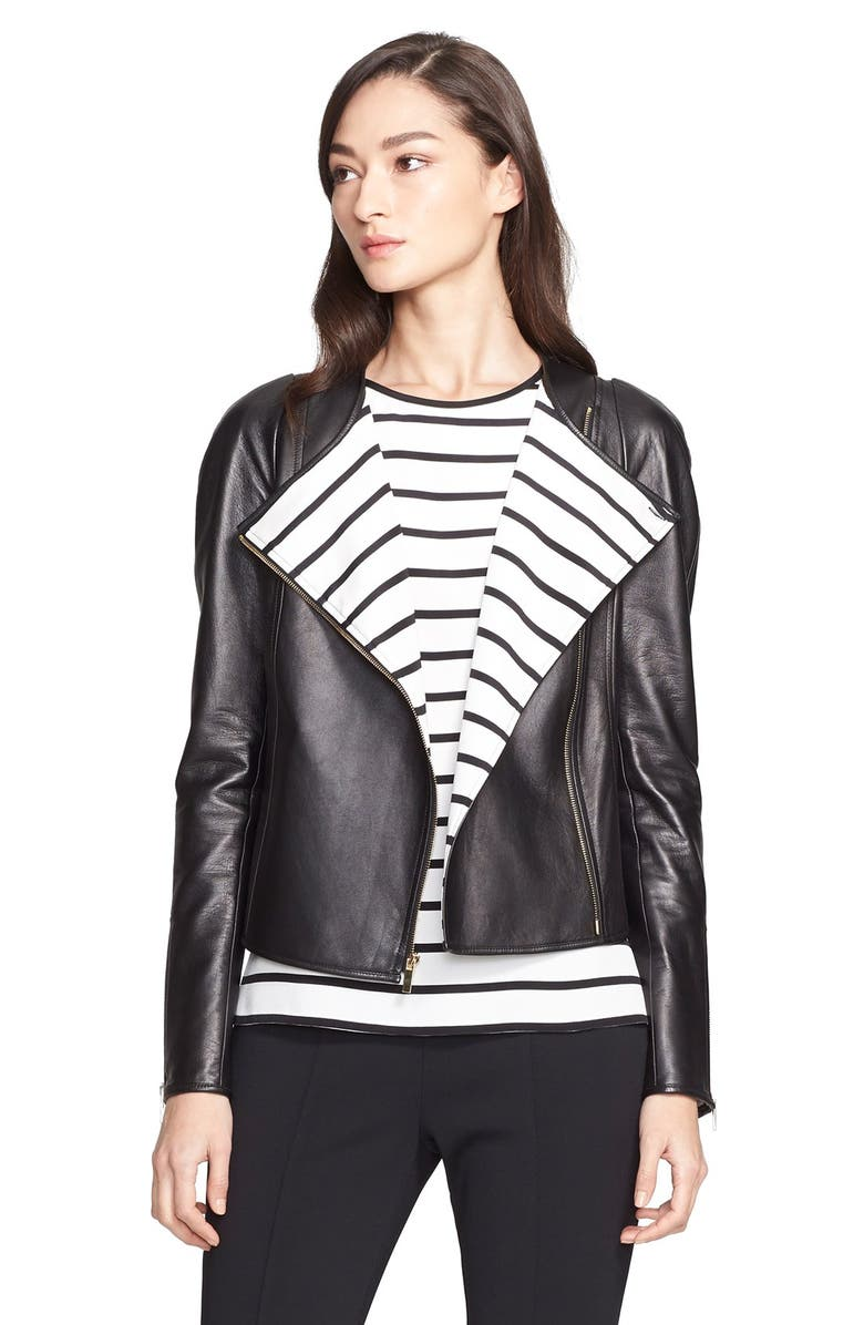 ST. JOHN COLLECTION Nappa Leather Jacket with Stripe Lining, Main, color, 001