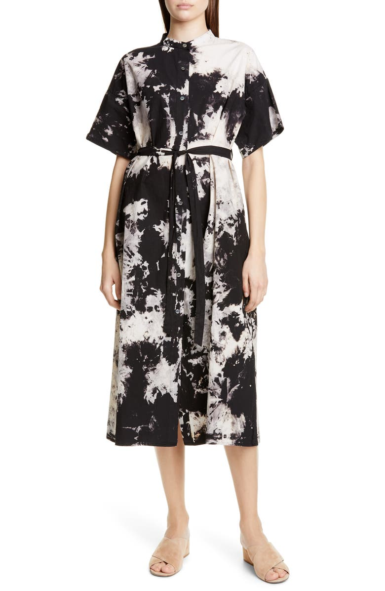 SEA Ione Tie Dye Belted Midi Shirtdress, Main, color, BLACK MULTI