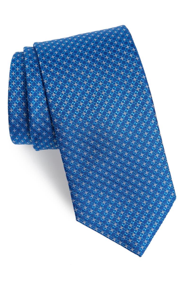 DAVID DONAHUE Check Silk Tie, Main, color, BLUE