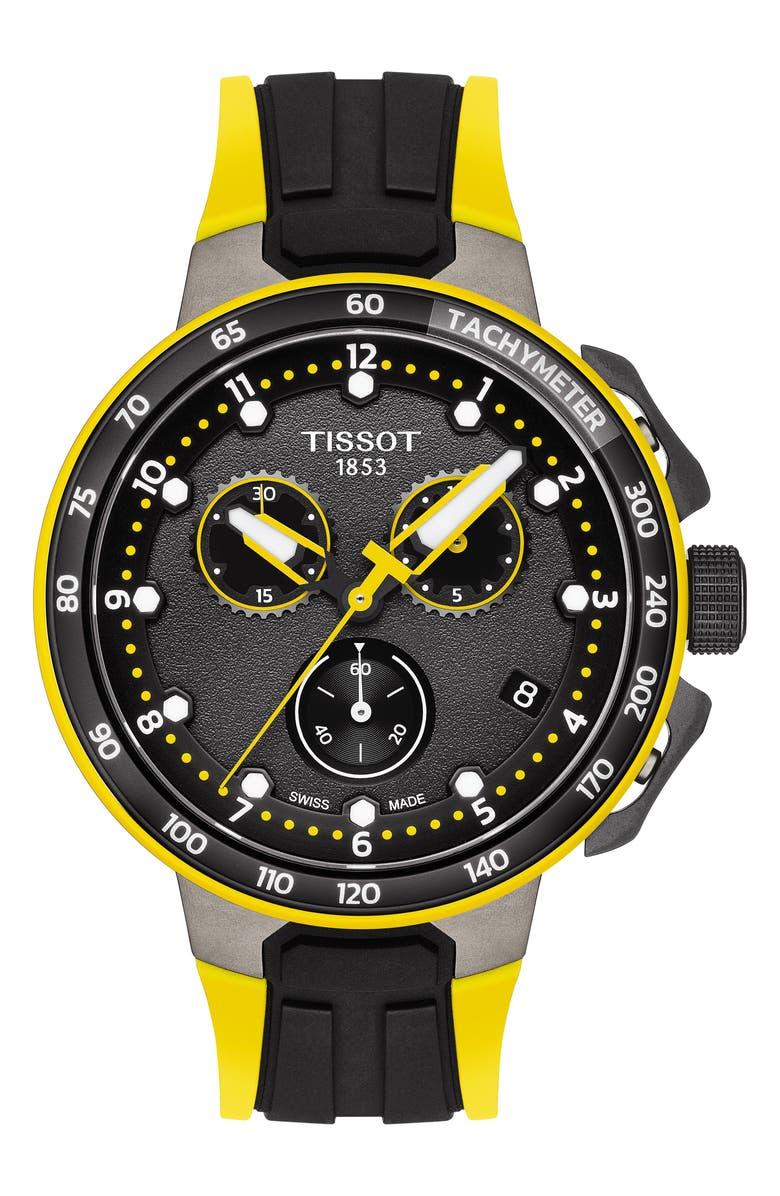 TISSOT T-Race Cycling Tour de France 2019 Chronograph Silicone Strap Watch, 44mm, Main, color, BLACK