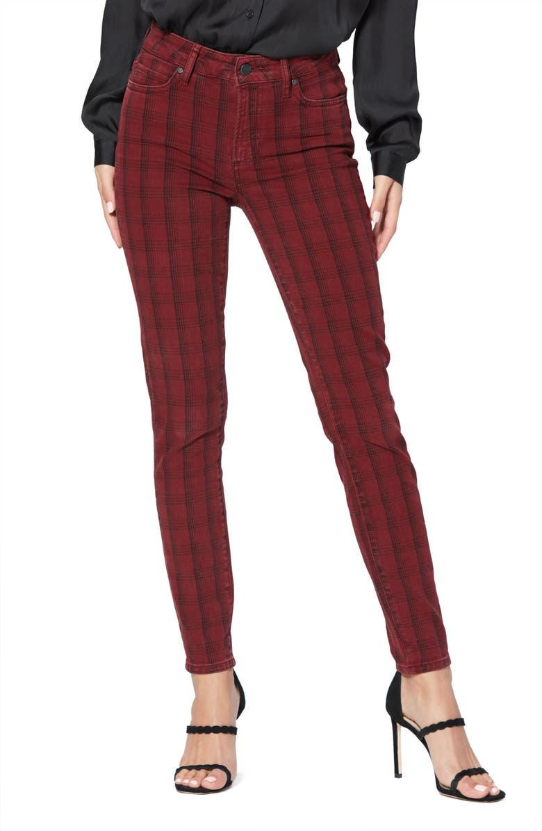 PAIGE Hoxton Tartan Plaid High Waist Ultra Skinny Jeans, Main, color, RED LINEAR CATCHER PLAID