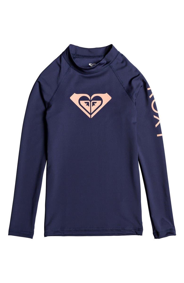 ROXY Whole Hearted Logo Long Sleeve Rashguard, Main, color, 400