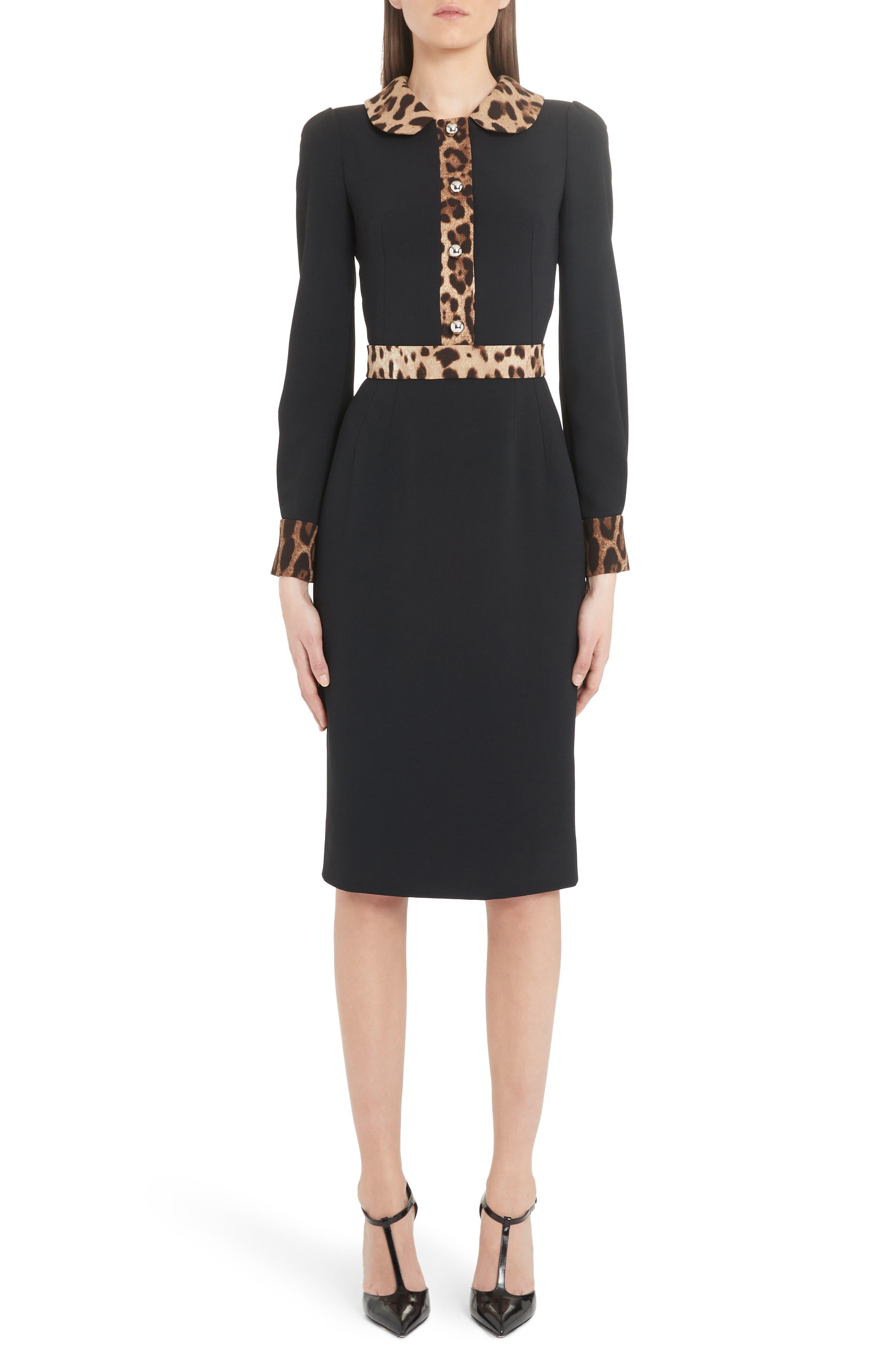 Dolce & gabbana Leopard Trim Long Sleeve Sheath Dress, US / 40 IT - Black