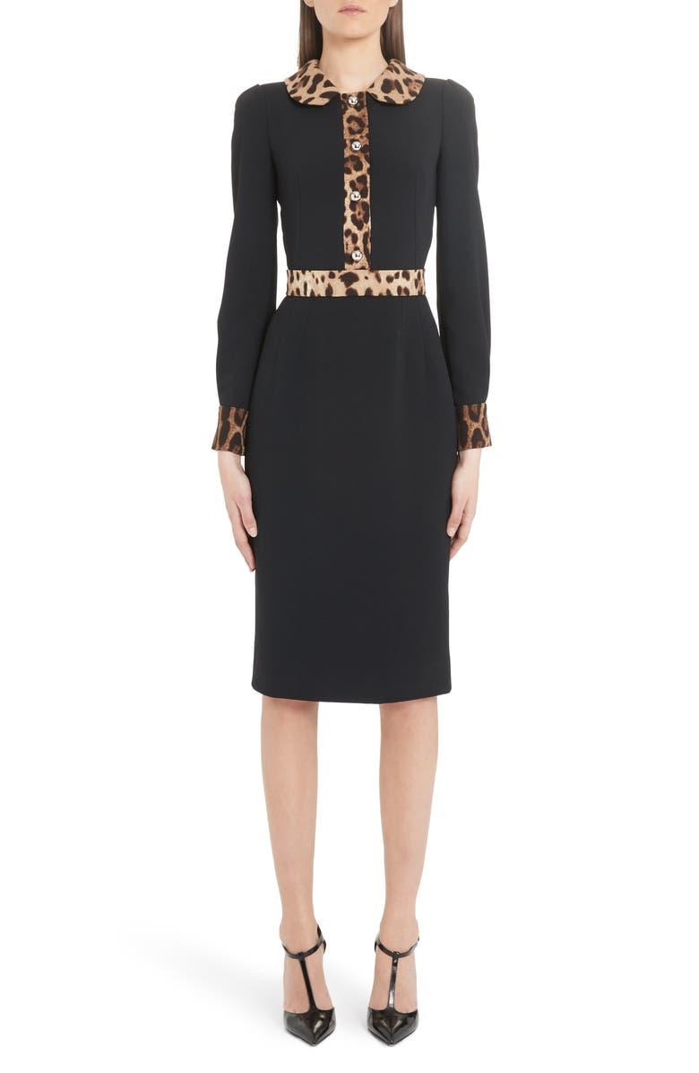 DOLCE&GABBANA Leopard Trim Long Sleeve Sheath Dress, Main, color, BLACK