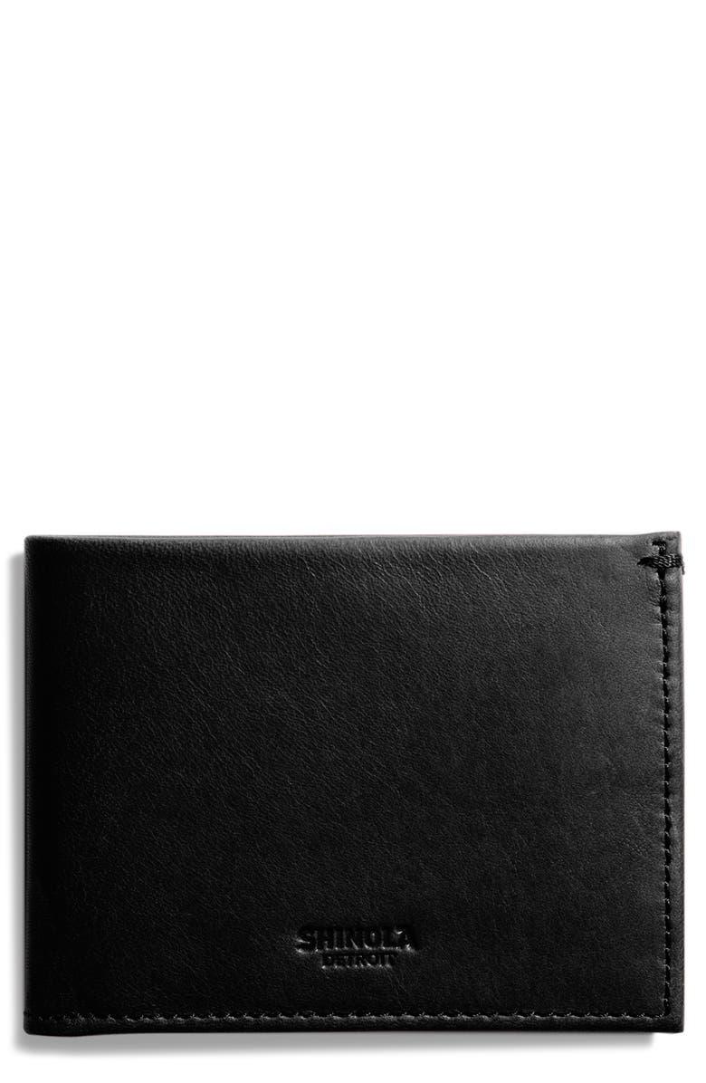 SHINOLA Slim Bifold Leather Wallet, Main, color, BLACK