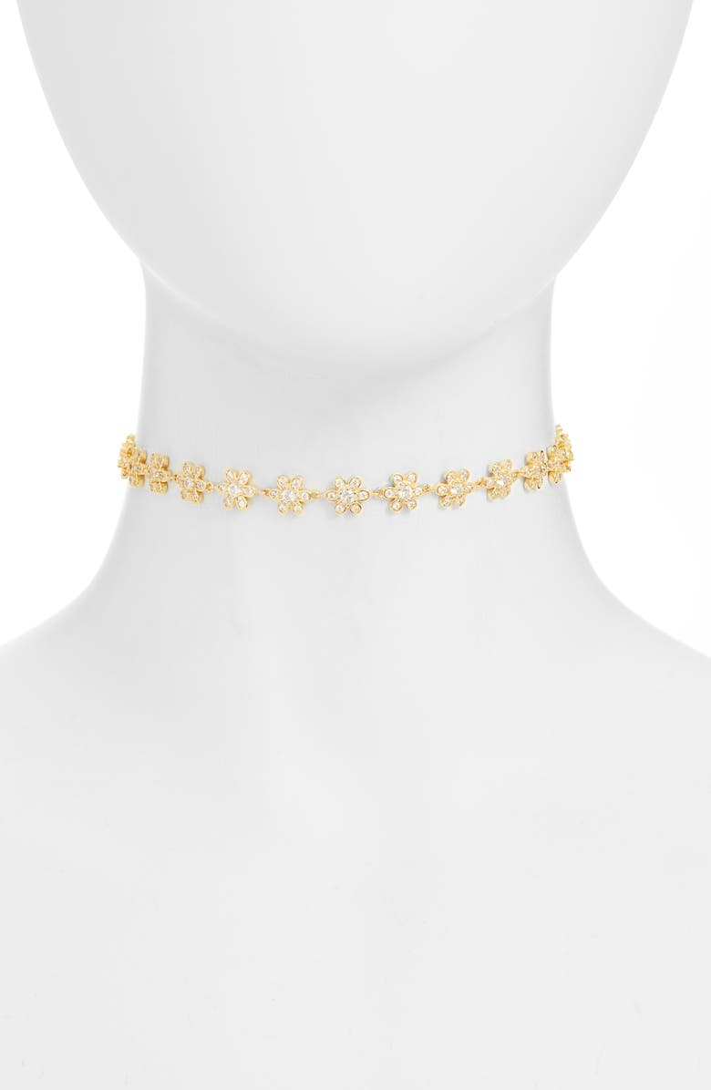 BRACHA Daisy Choker Necklace, Main, color, GOLD