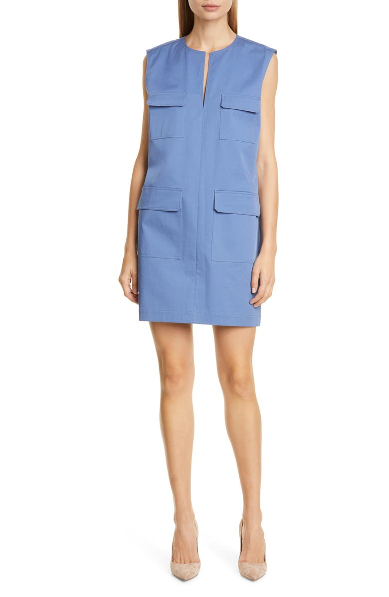 THEORY Utilitarian Sleeveless Stretch Cotton Dress, Main, color, 472