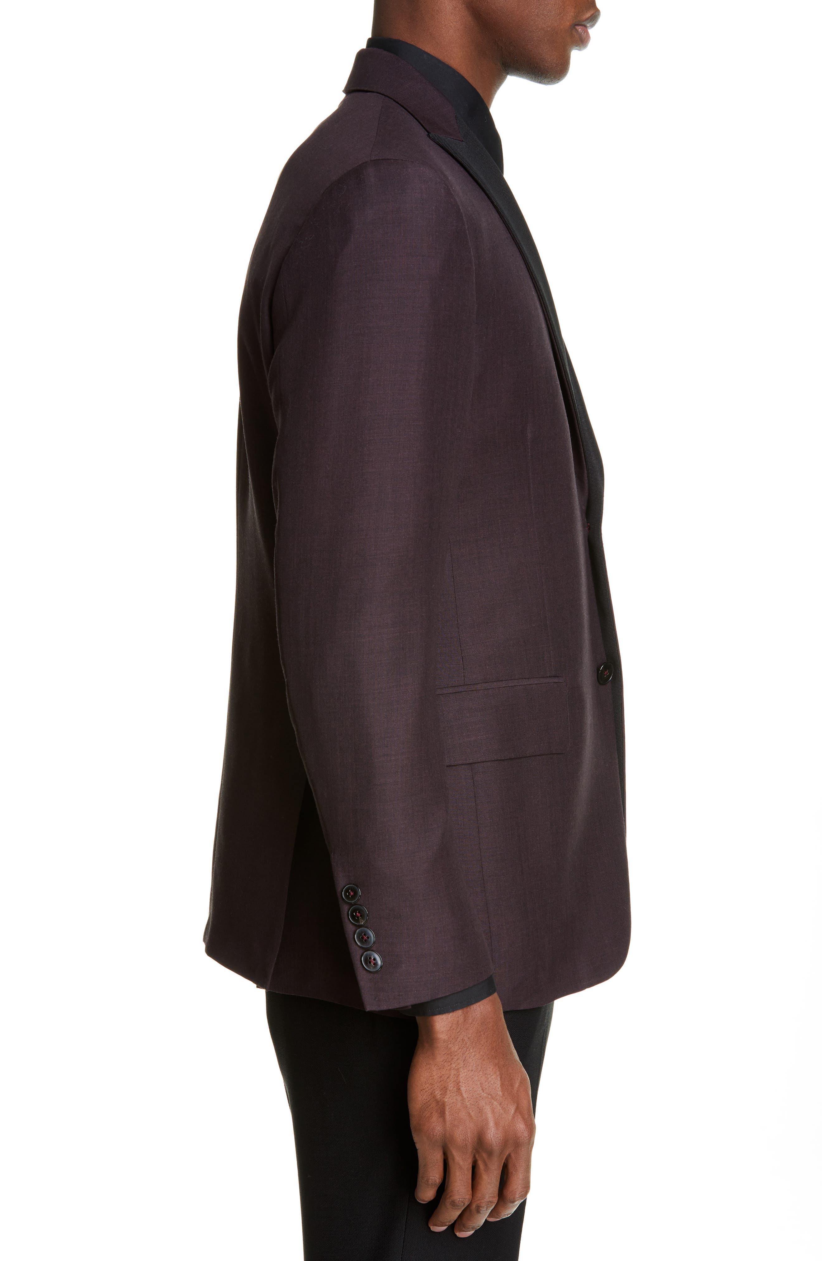 ,                             Balthazar Trim Fit Wool & Mohair Dinner Jacket,                             Alternate thumbnail 3, color,                             BURGUNDY