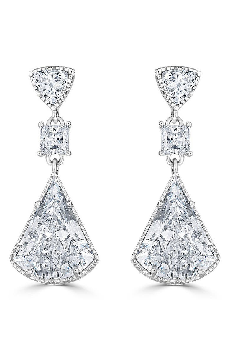 THOMAS LAINE Lucille Drop Earrings, Main, color, CLEAR/ SILVER