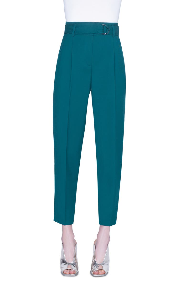 AKRIS PUNTO Fred Wool Crop Pants, Main, color, SPRUCE