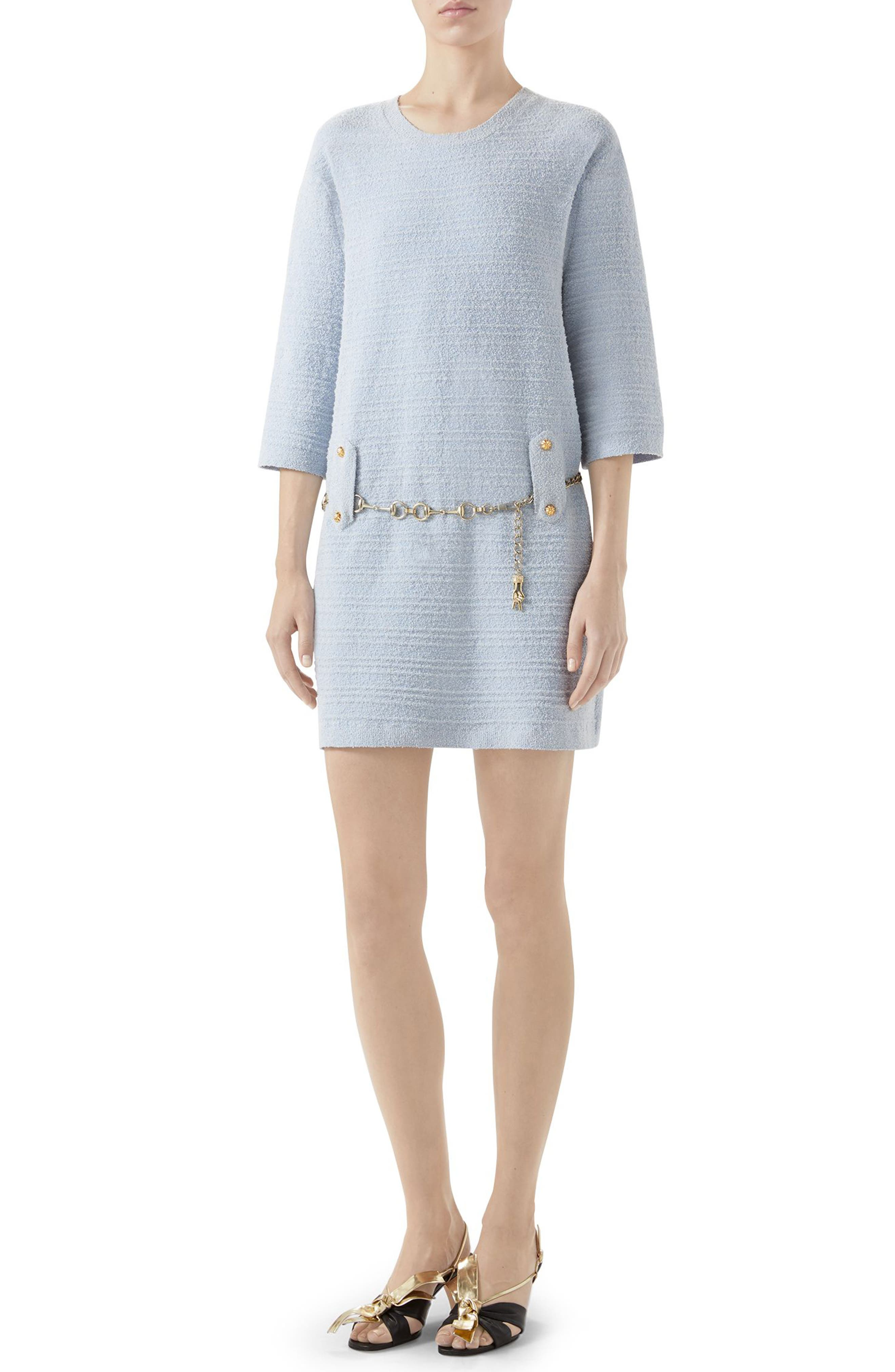 Gucci Belted Cotton Blend Sweater Dress, Ivory