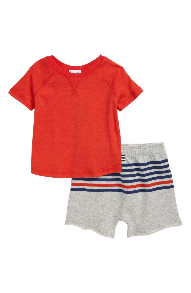 SPLENDID T-Shirt & Shorts Set, Main, color, MOLTEN LAVA