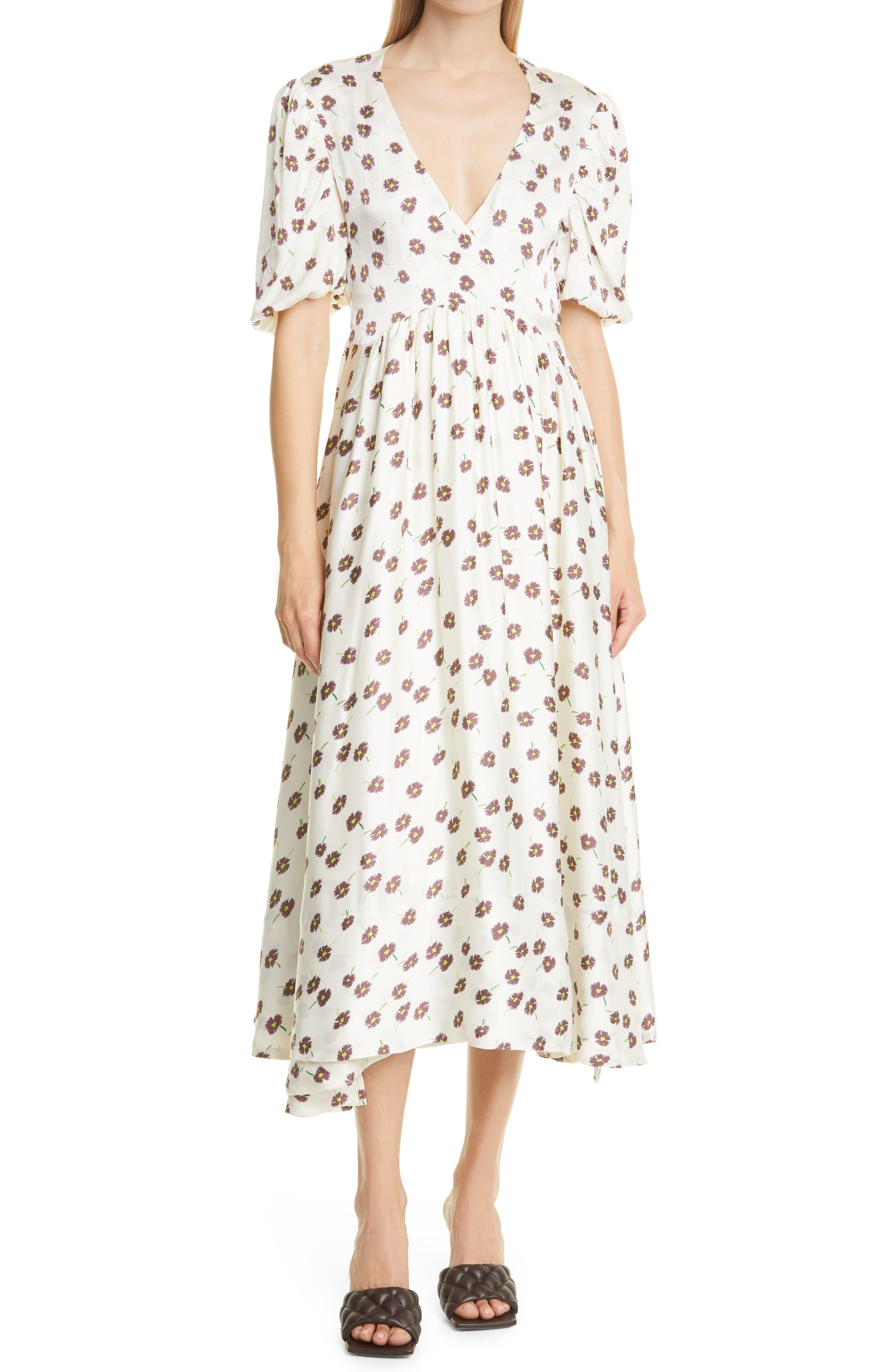 Lola Floral Open Back Satin Wrap Dress