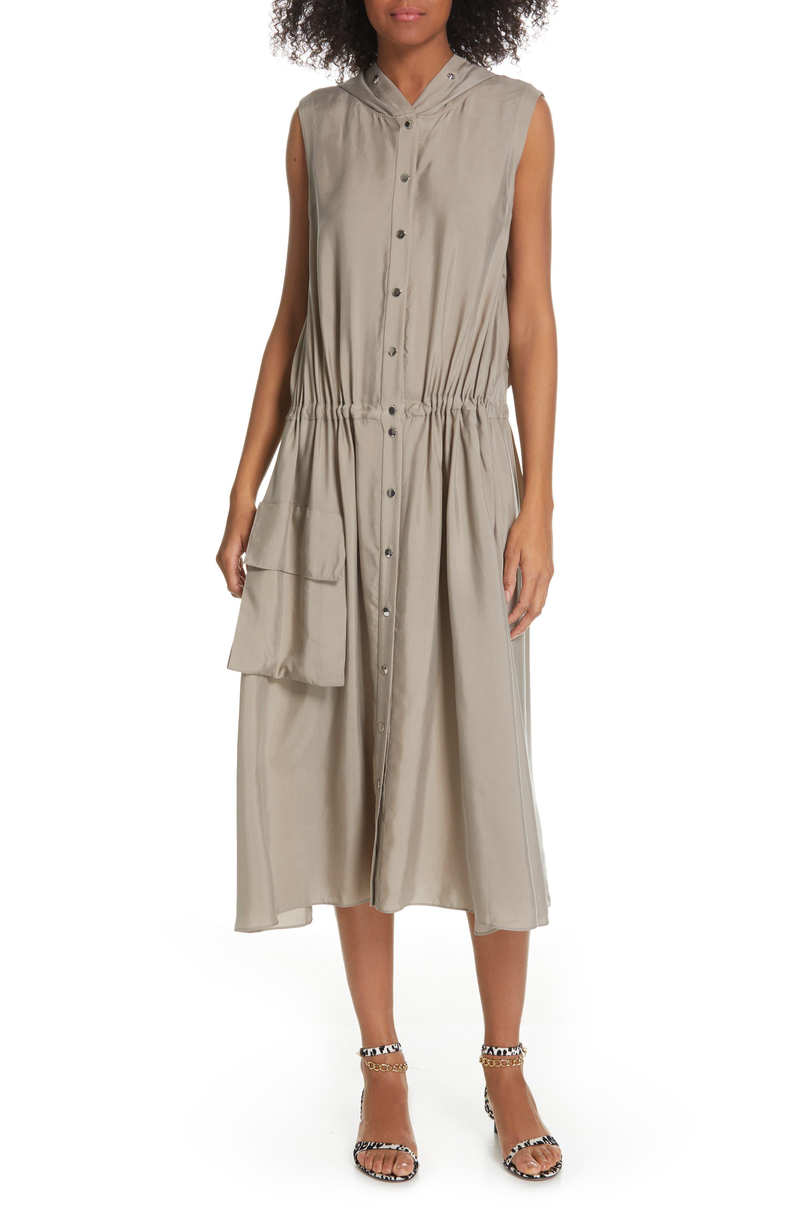 Tibi Hooded Anorak Midi Dress, Beige
