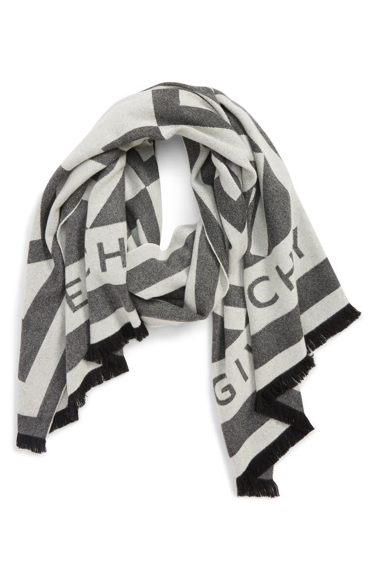 GIVENCHY Nouveau G Wool & Cashmere Scarf, Main, color, 001