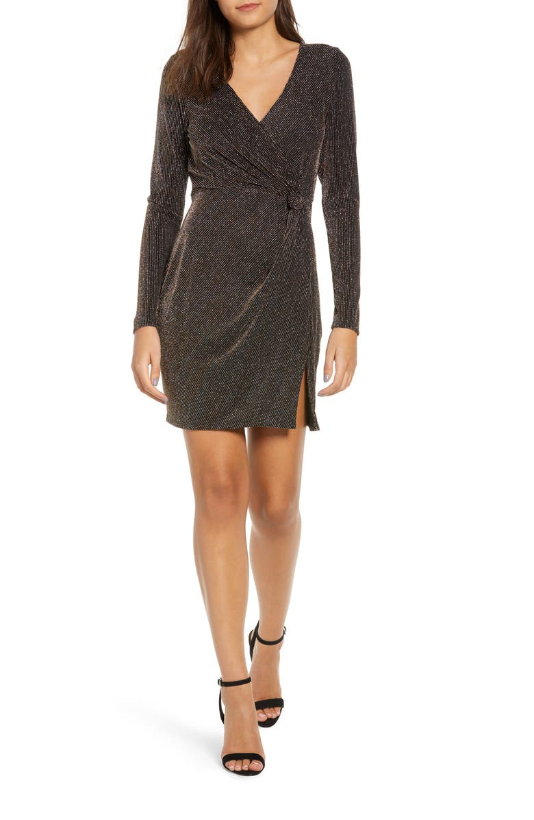 ROW A Metallic Sheath Dress, Main, color, GOLD