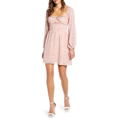 All In Favor Gathered Waist Long Sleeve Minidress, Pink