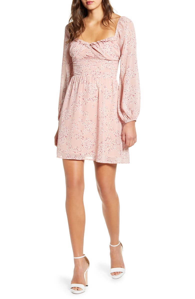 ALL IN FAVOR Gathered Waist Long Sleeve Minidress, Main, color, DUSTY PINK FLORAL