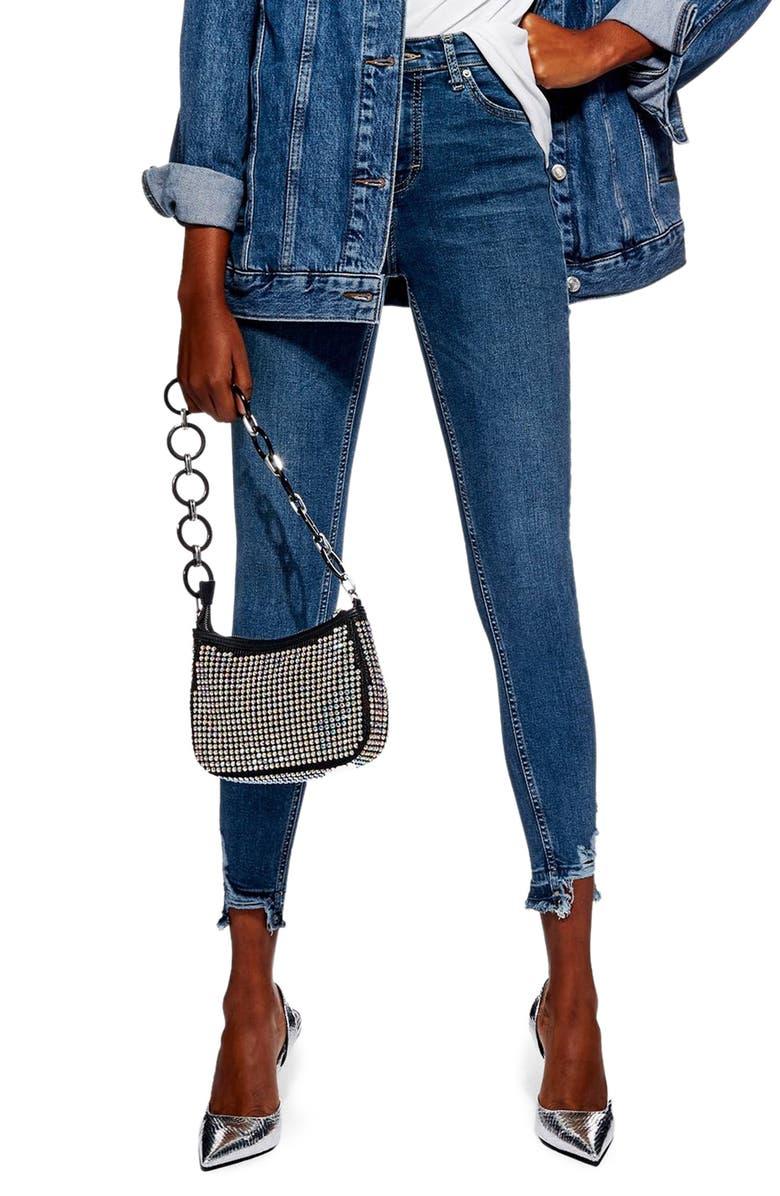TOPSHOP Jamie High Waist Rip Hem Jeans, Main, color, MID DENIM
