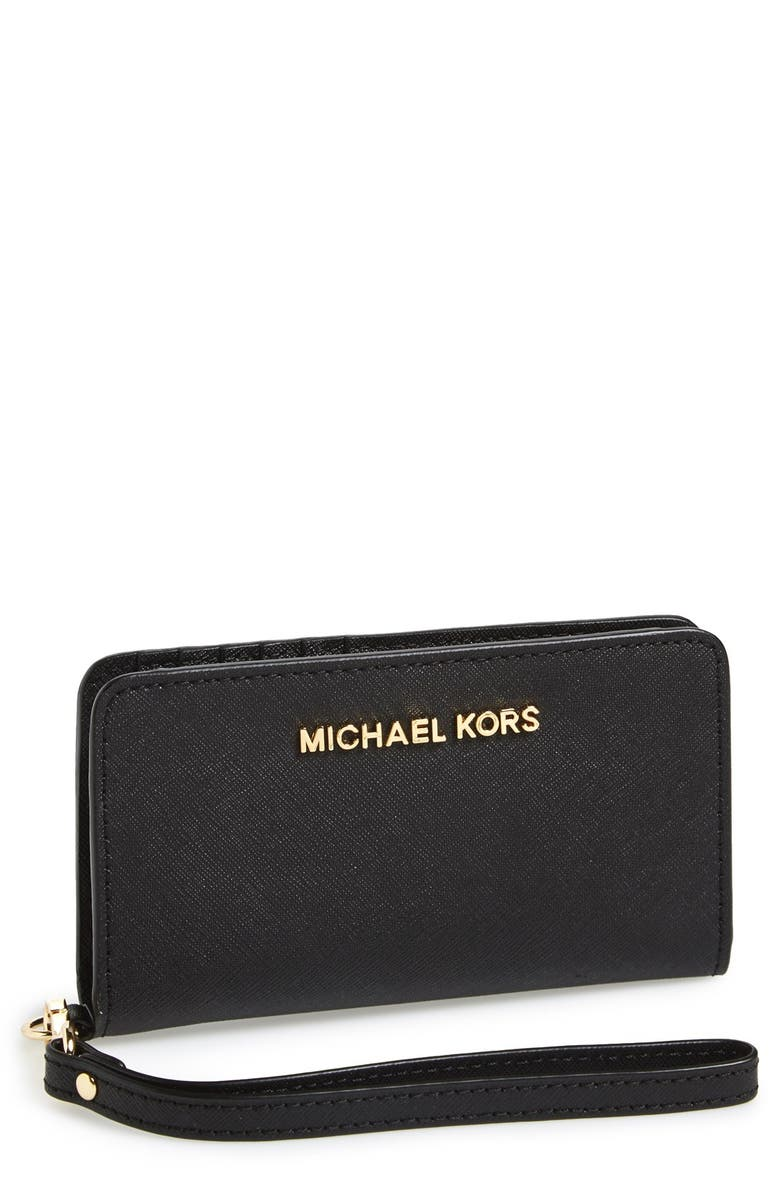 MICHAEL MICHAEL KORS Saffiano Leather Tech Wristlet, Main, color, 001