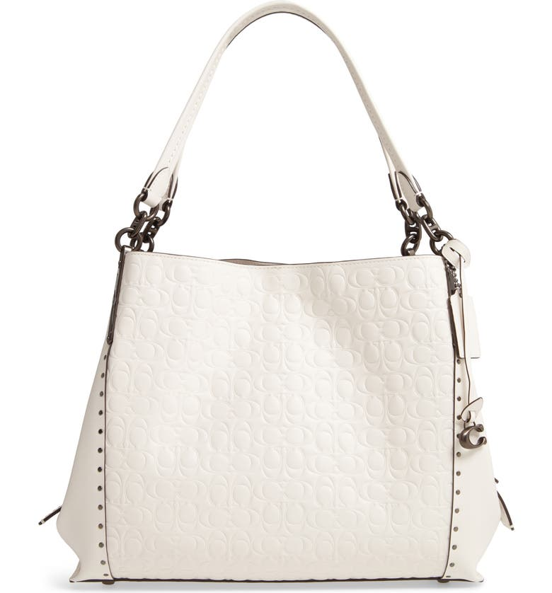 COACH Dalton 31 Signature Leather Shoulder Bag, Main, color, V5/ CHALK