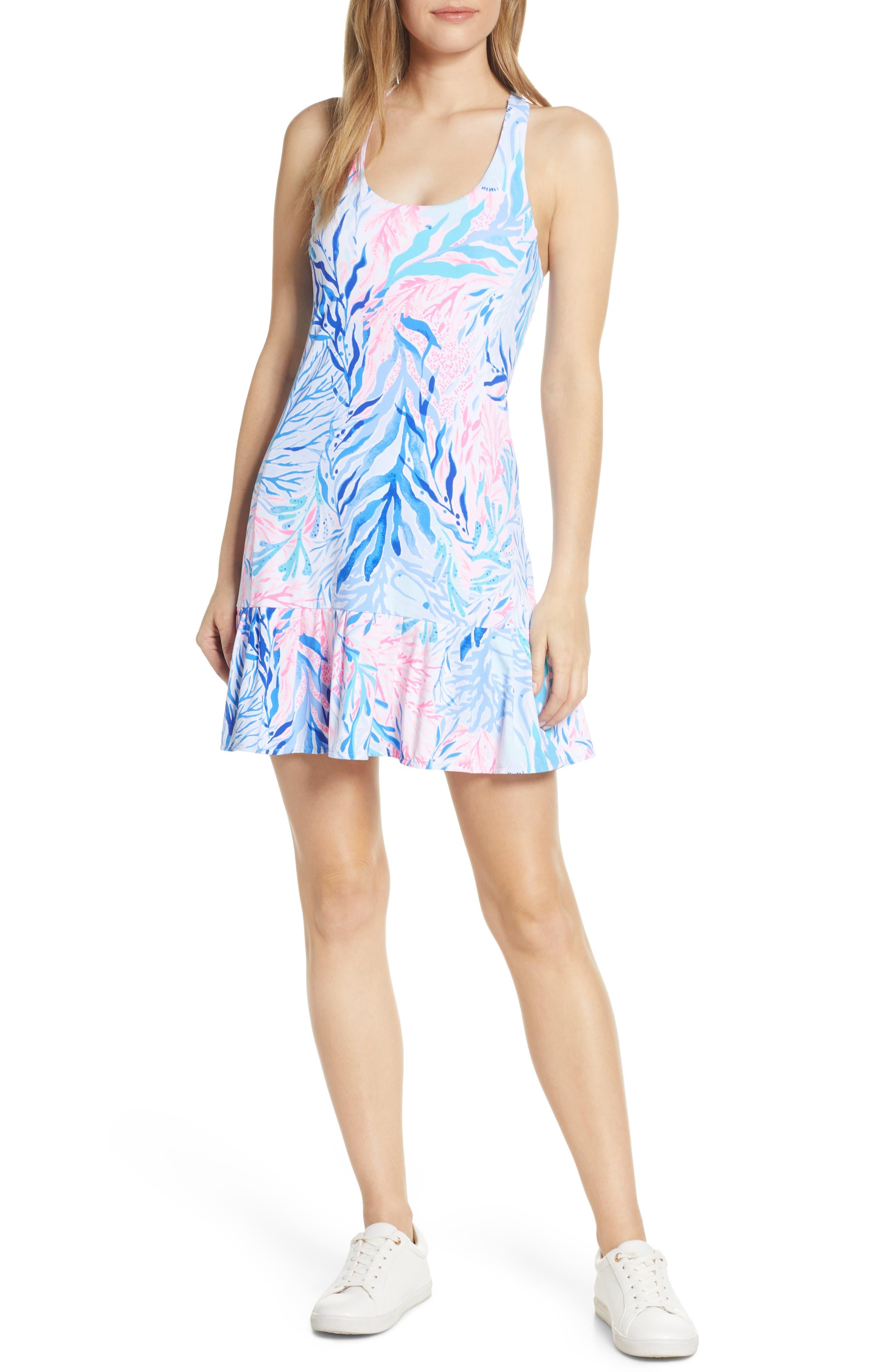 Lilly Pulitzer Luxletic Meryl Upf 50+ Ace Tennis Dress & Shorts Set, Blue