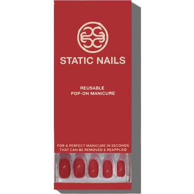 Static Nails Sexy Red Pop-On Reusable Manicure Set - Sexy Red Round