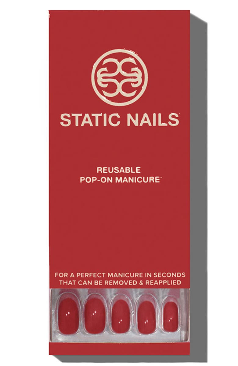 STATIC NAILS Sexy Red Pop-On Reusable Manicure Set, Main, color, 600
