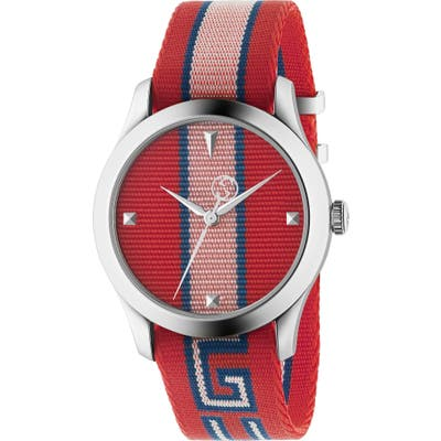 Gucci G-Timeless Nylon Strap Watch, 37Mm