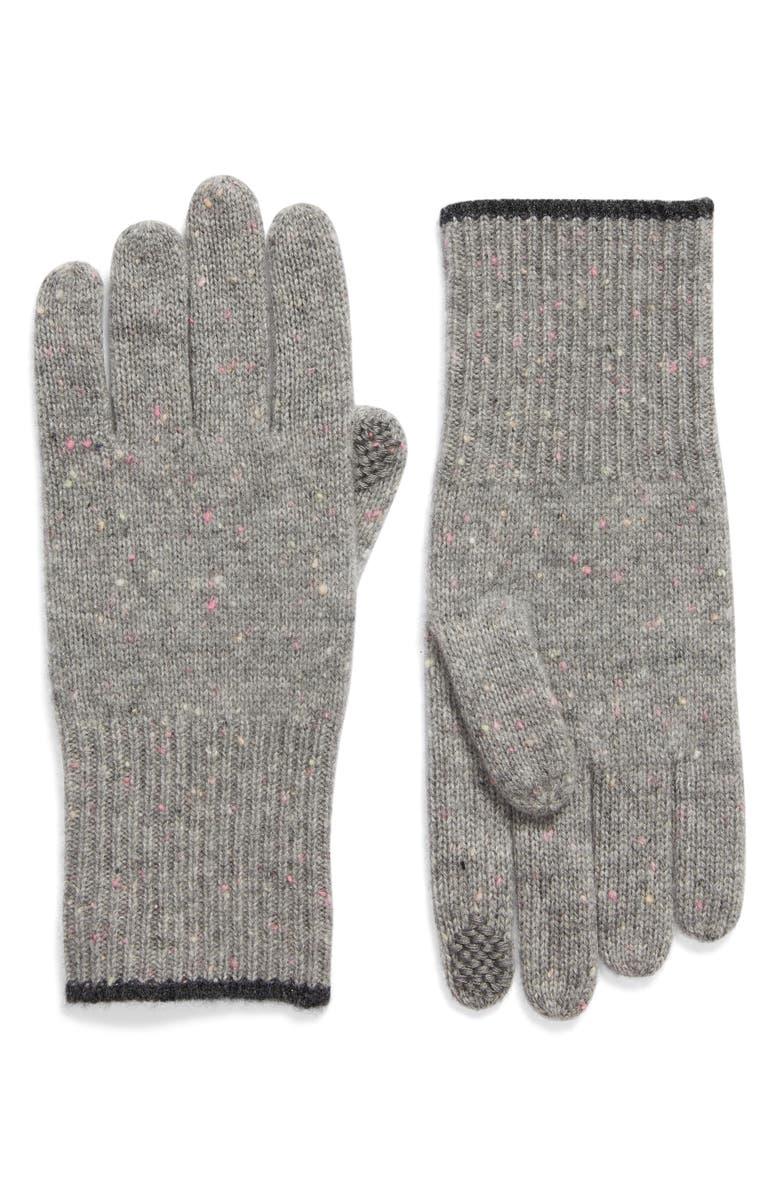 ZELLA Wool & Cashmere Gloves, Main, color, GREY MEDIUM HEATHER