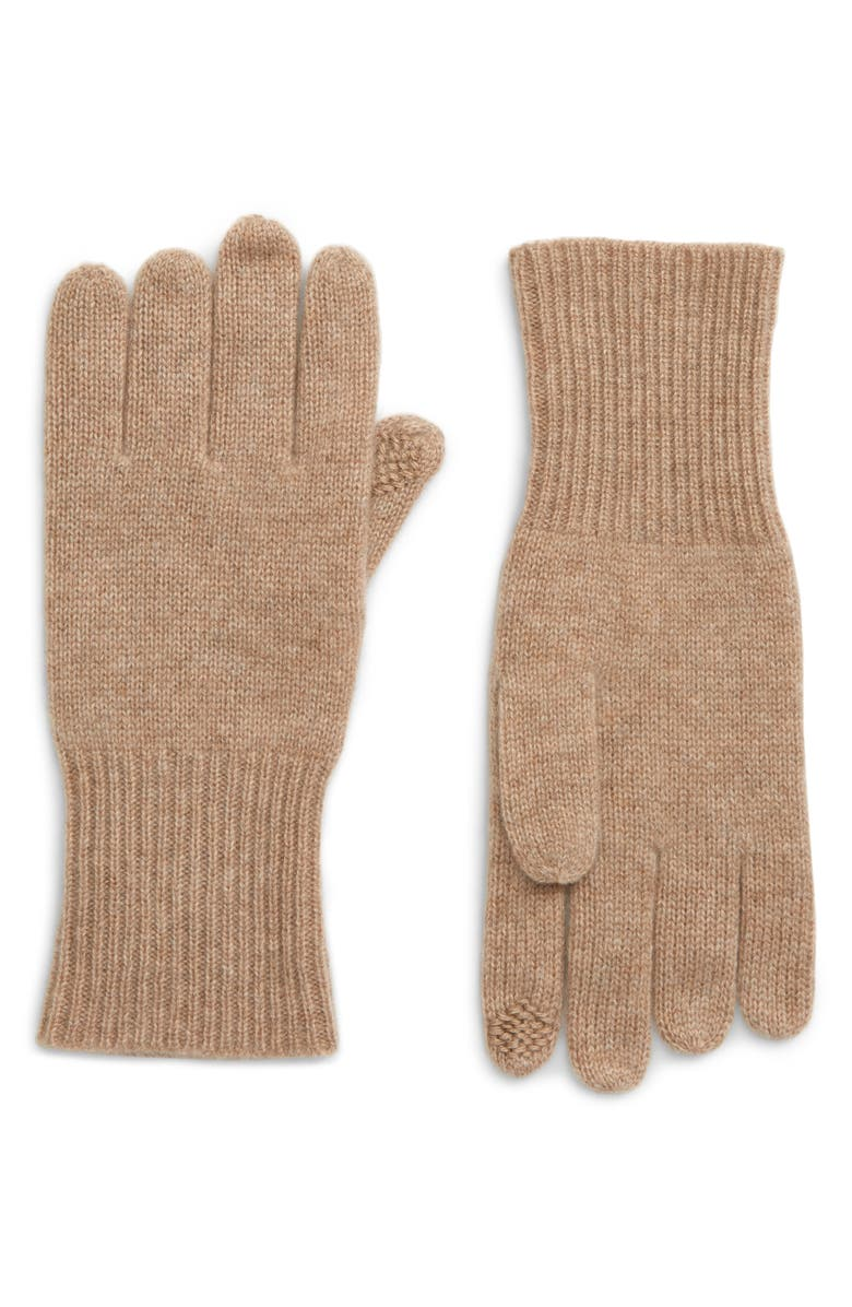 HALOGEN<SUP>®</SUP> Rib Knit Cashmere Gloves, Main, color, TAN CAMEL DARK HEATHER