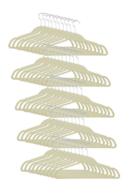 Image of Honey-Can-Do White/Ivory Velvet Touch Hangers - Pack of 50
