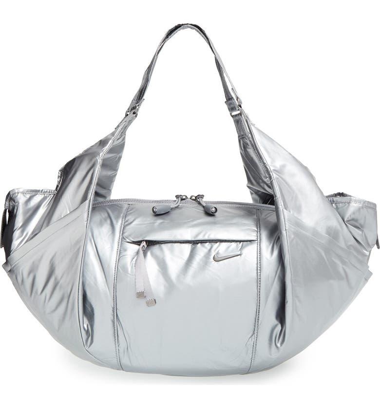 NIKE 'Victory' Metallic Gym Bag, Main, color, COOL GREY