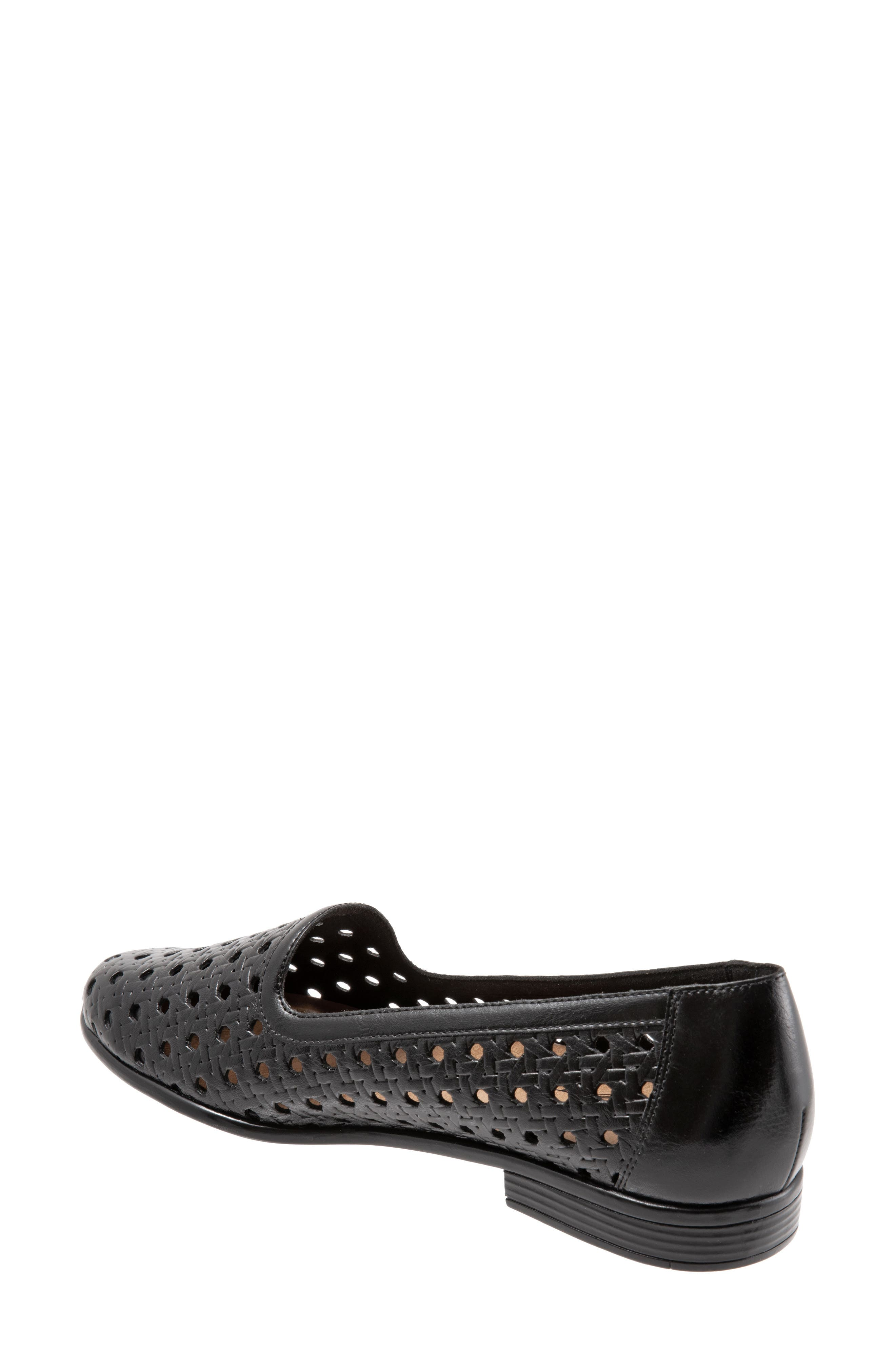 ,                             Liz Woven Loafer Flat,                             Alternate thumbnail 2, color,                             BLACK/ BLACK LEATHER