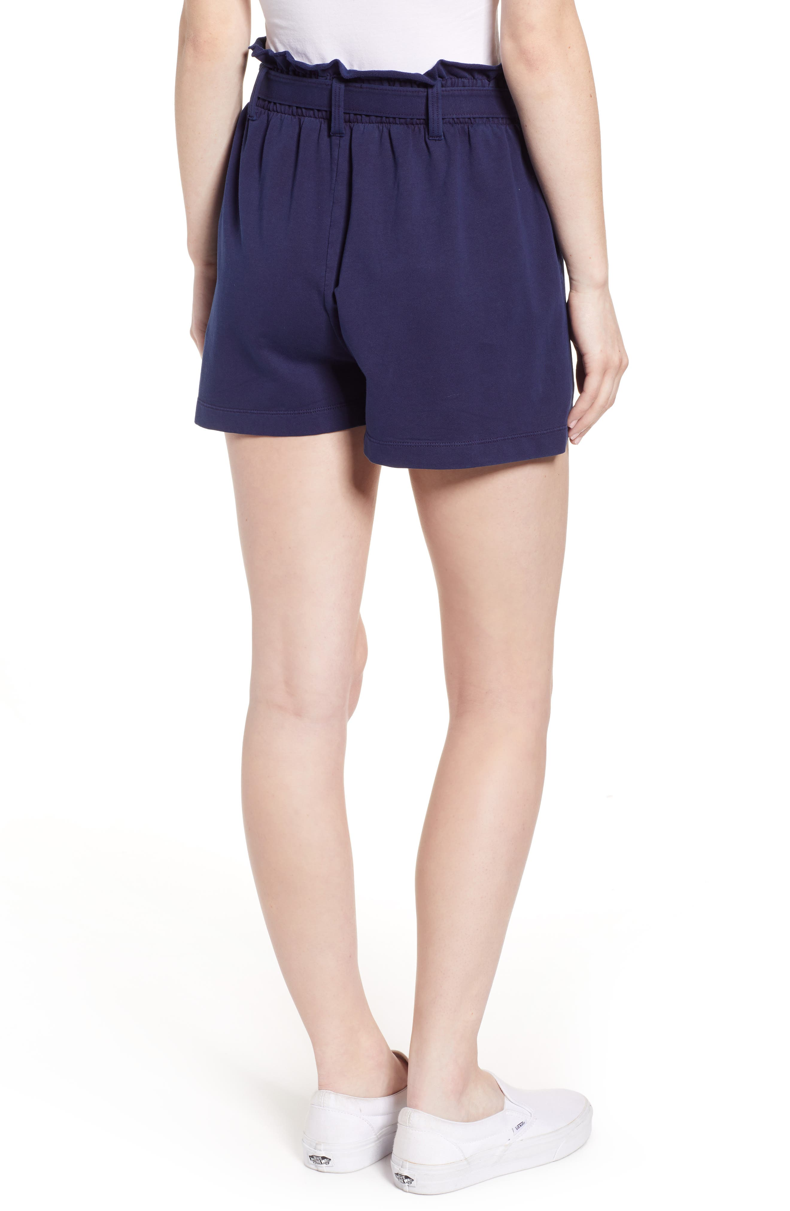 ,                             Paperbag High Waist Shorts,                             Alternate thumbnail 2, color,                             NAVY EVENING
