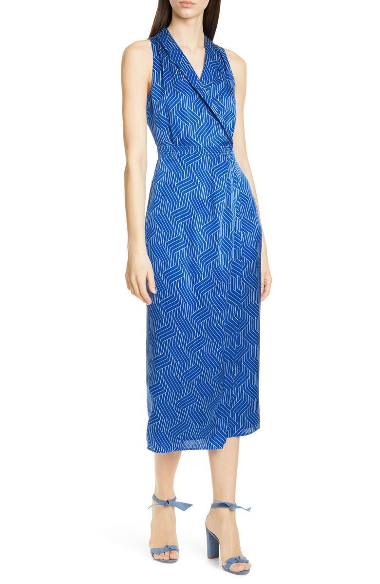 EQUIPMENT Katherine Geo Print Sleeveless Satin Midi Dress, Main, color, BLEU COTIER/ BRIGHT WHITE