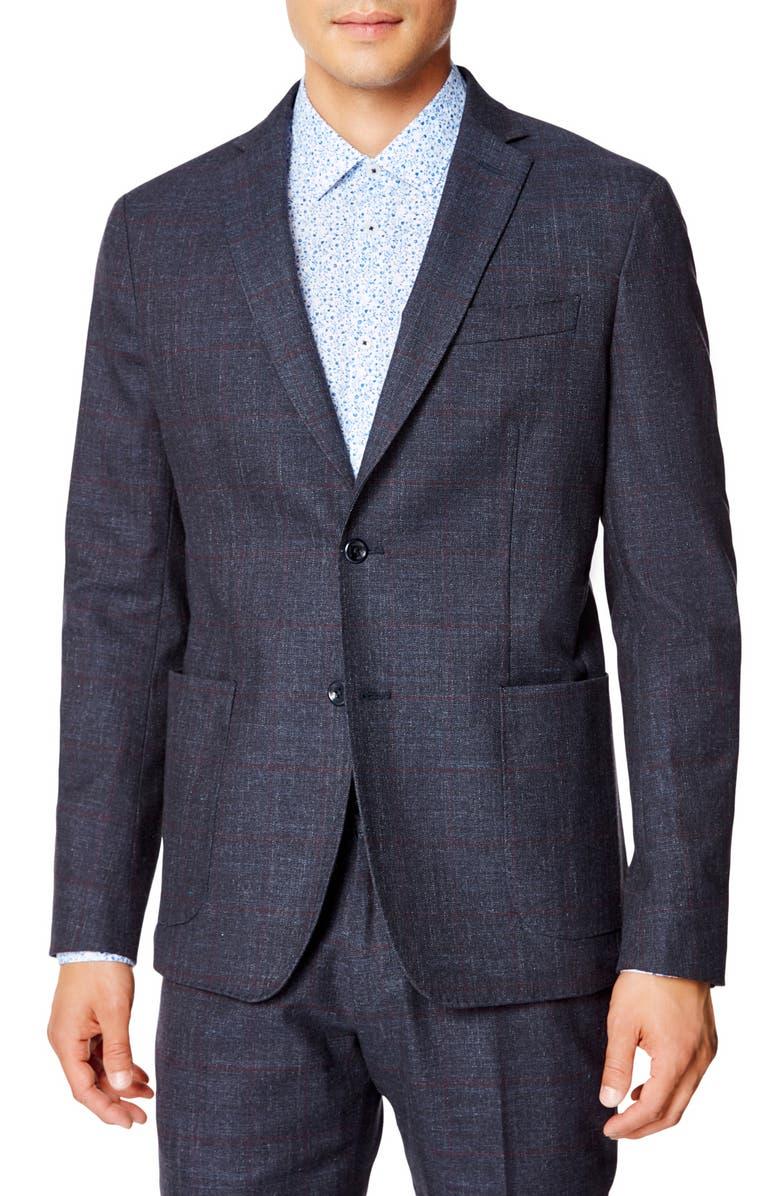 GOOD MAN BRAND Slim Fit Windowpane Stretch Cotton Sport Coat, Main, color, INDIGO