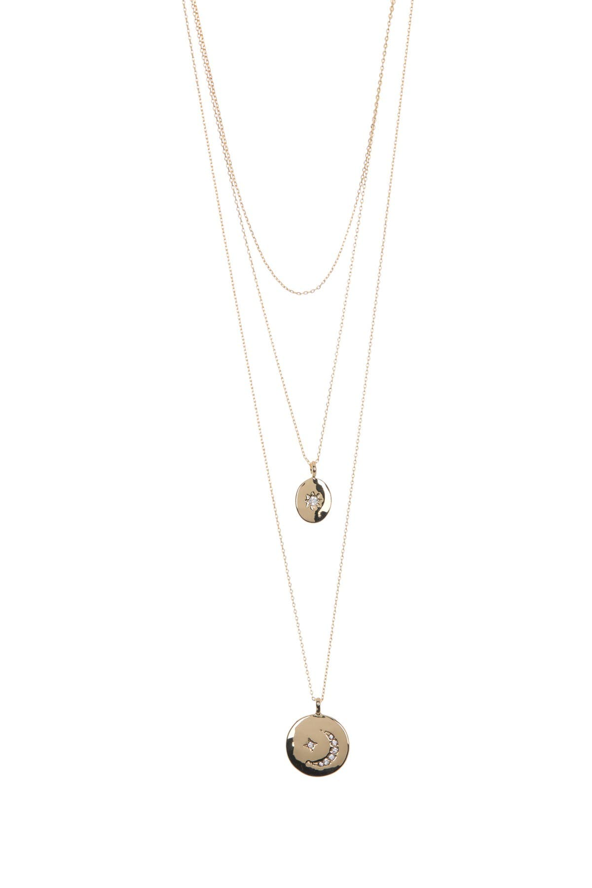 Image of AREA STARS Bling Disc Layered Necklace Set